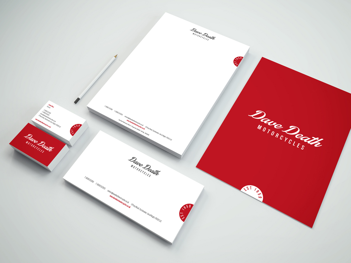dave death motorcycles stationery design