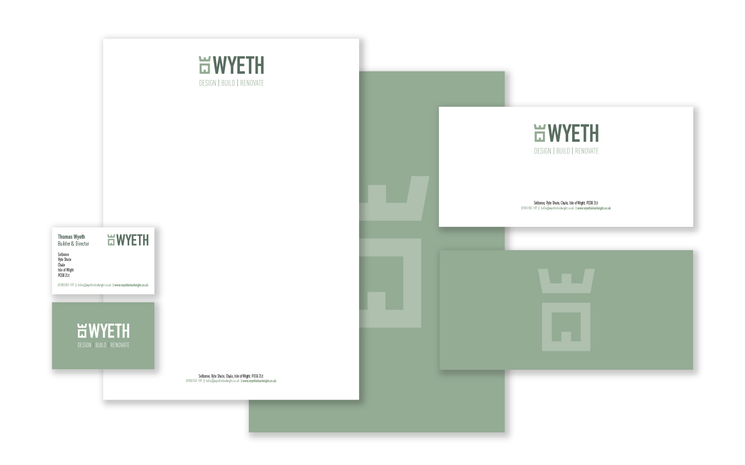 wyeth isle of wight builder stationery design